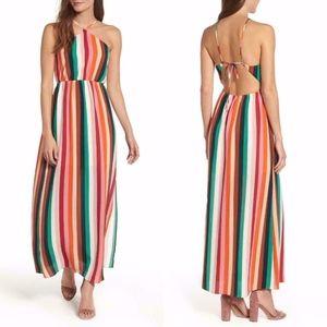 SOPRANO Multi CANDY Stripe HALTER Slit MAXI DRESS